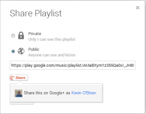 Sharing Options in Google P\lay Music